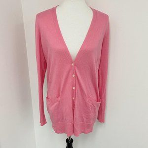 Ralph Lauren v cut long pink cardigan sweater Sz M